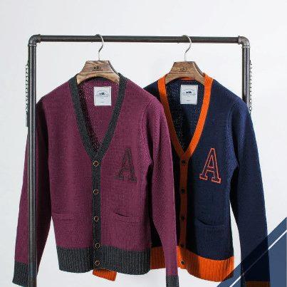 ADLIB - adlib 2012 F/W 跳色拼接毛料開襟衫   - 兩色大推薦!