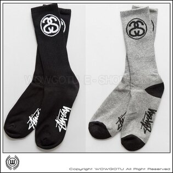 STUSSY SS Link Crew Socks - STUSSY  LOGO長襪 黑白灰三色