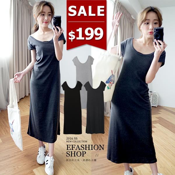 連身裙~MIT雙U領素面短袖長洋裝~eFashion 預~D10157912~ ~  好康