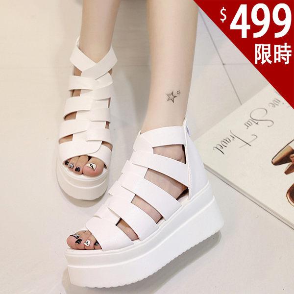 厚底涼鞋-韓國新款編織魚骨簡約純色松高鞋 厚底鞋 羅馬涼鞋 魚嘴涼鞋【AN SHOP】
