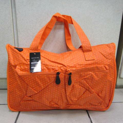 ~雪黛屋~X-TREME小點點可愛旅行袋防水尼龍布材質超大購物袋 大容量好收納不占空間65-2139 亮桔