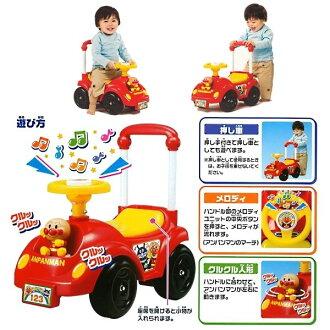 日本直送 Pinocchio 麵包超人 兒童玩具 歡樂音樂 學步娃娃推推車 小紅車子 室內用款