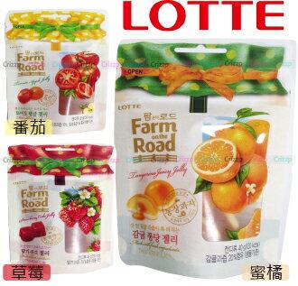 ★韓國 LOTTE Farm on the road 田園水果軟糖★【脆思比】草莓.蜜橘.番茄.藍莓