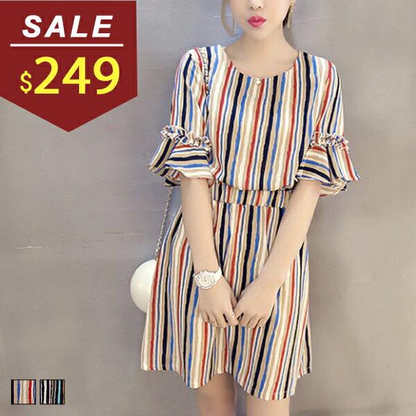 洋裝 配色直紋縮腰短袖棉質連身裙 小豬兒 MiNi Jule ~YCA61047028~