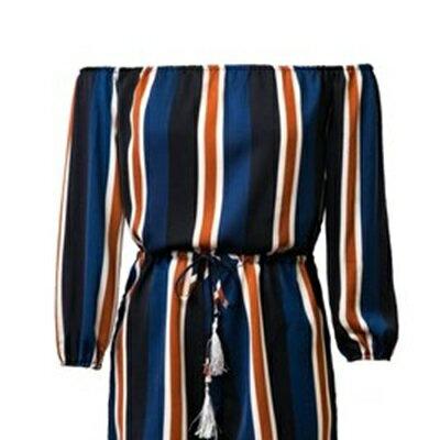 連身褲裝棉質一字領短褲~長袖撞色線條收腰女褲裝73ht90~ ~~米蘭 ~