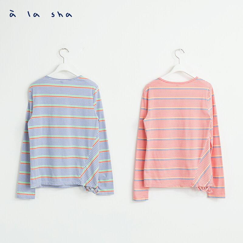 a la sha Qummi 彩條不對稱剪接長袖T恤 2