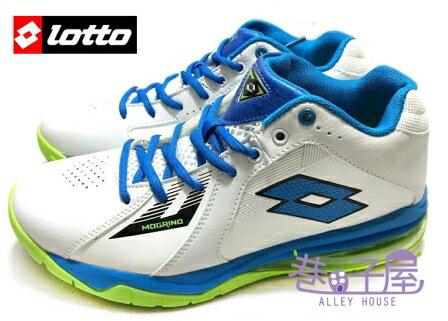 【巷子屋】義大利第一品牌-LOTTO樂得 男款刀鋒戶外氣墊籃球鞋 [2105] 白藍綠 超值價$690