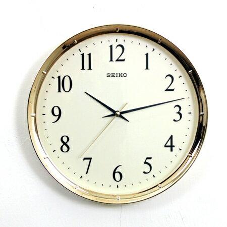 SEIKO精工時鐘 亮眼金色邊框簡約設計掛鐘 滑動式靜音秒針 柒彩年代【NG1730】原廠公司貨