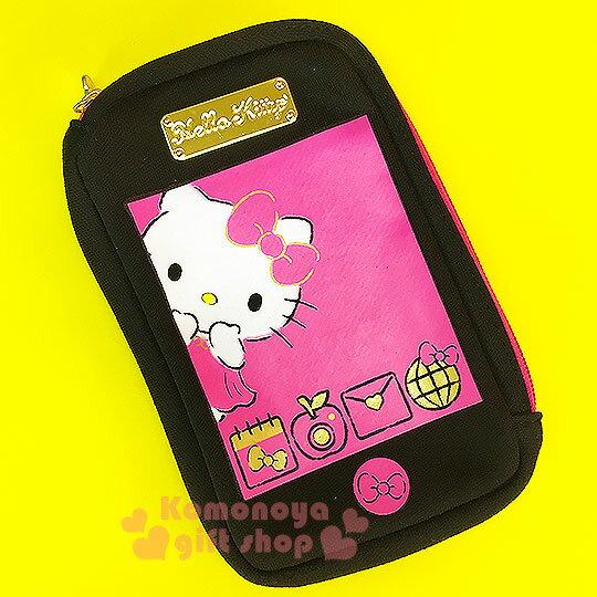 〔小禮堂〕Hello Kitty 直式化妝包~桃黑.洋裝.筆記本.蘋果~L型開口