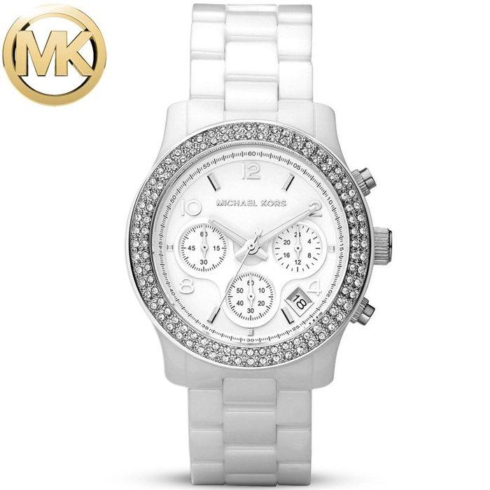 【MICHAEL KORS】正品 簡約時尚躍動三眼計時陶瓷腕錶 MK5188 白 0