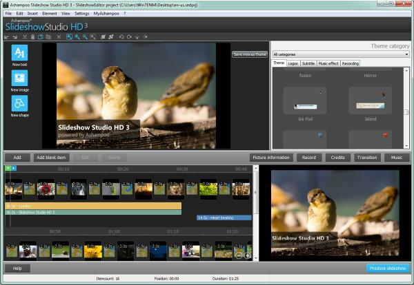將照片製作成投影片和加入音樂或旁白和燒錄軟體 - Ashampoo® Slideshow Studio HD 3