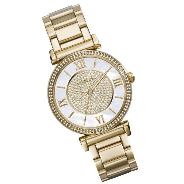 美國Outlet正品代購 MichaelKors MK 復古羅馬滿天星貝殼面鑲鑽金色    手錶 腕錶 MK3332 1
