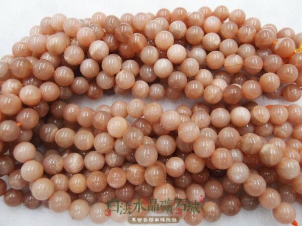 白法水晶礦石城 天然-太陽石(橙月光) 8mm 礦質 串珠/條珠 首飾材料(加值購專區)