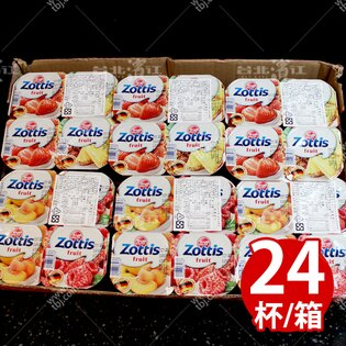 【台北濱江】zottis水果口味優格115g/杯x24杯/箱(蔓越莓,水蜜桃,草莓,鳳梨)