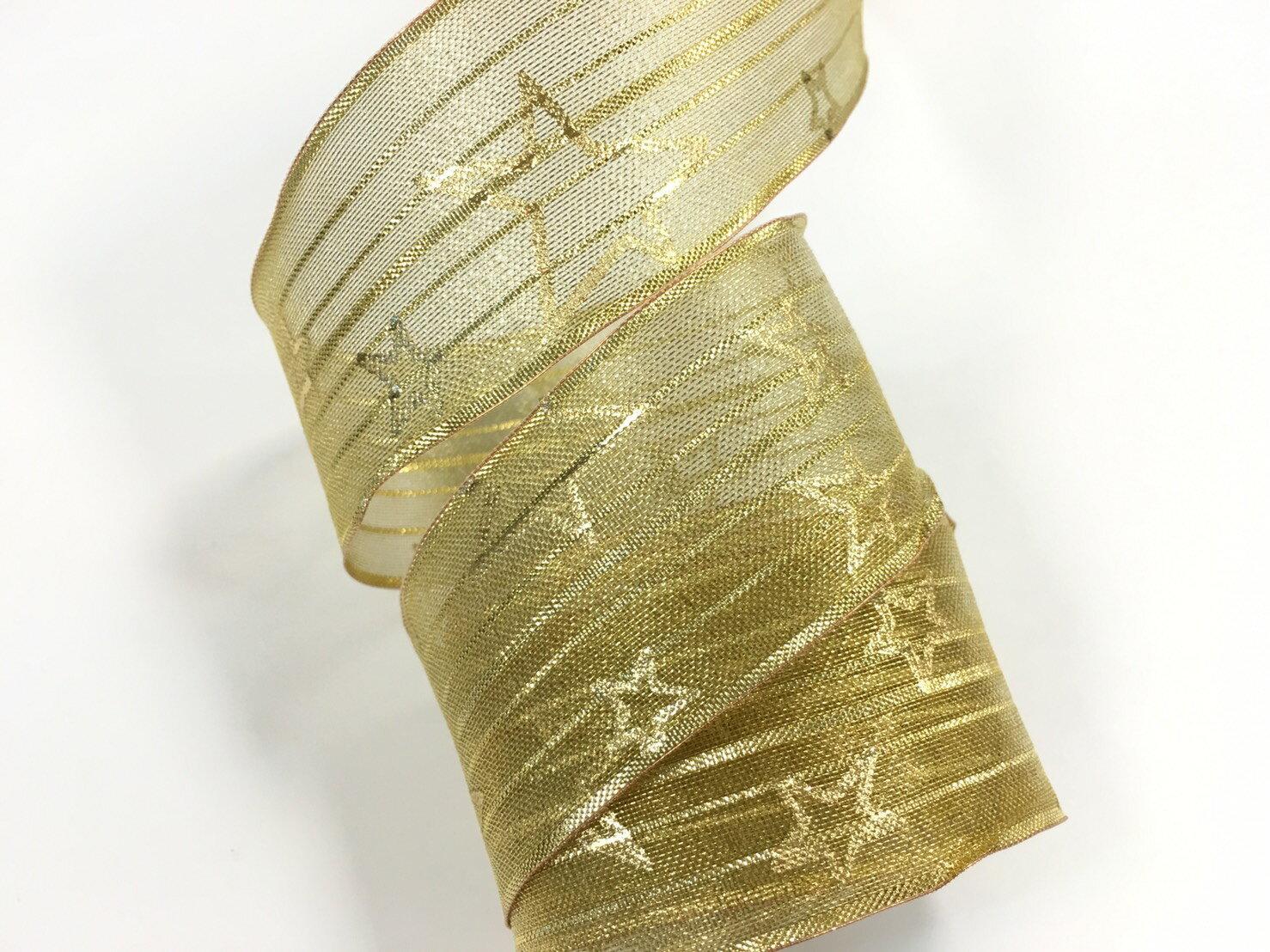 網紗緞帶-聖誕鐵絲星星 38mm 3碼裝 (2色) 0