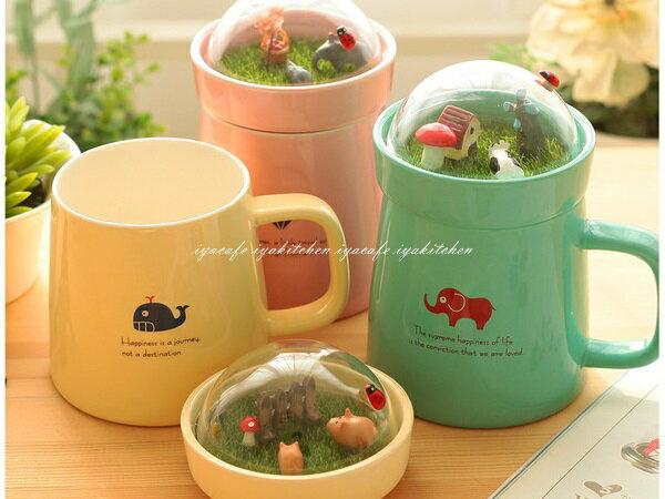 《愛鴨咖啡》微景觀創意馬克杯 陶瓷茶杯附蓋 咖啡杯 泡茶杯