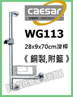 【東益氏】 CAESAR凱撒WG113銅製滑桿附籃 花灑掛座 另售淋浴柱 蓮蓬頭 面盆龍頭 大流量軟管