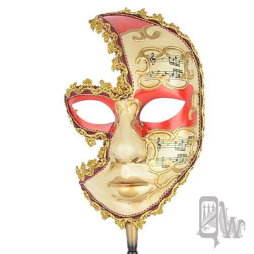 ~Barocco Nuts~^~面具^~派對系列:五線譜面紅眼線 金邊女棒面具 樂音女神^