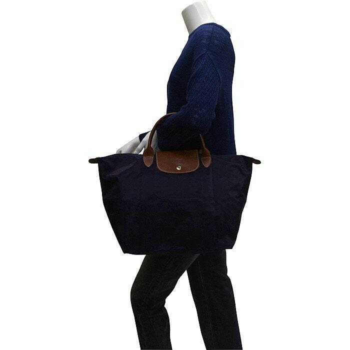 [1623-M號] 國外Outlet代購正品 法國巴黎 Longchamp 短柄 購物袋防水尼龍手提肩背水餃包 深紫色 3