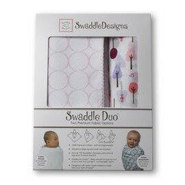 美國【Swaddle Designs】頂級多用途嬰兒包巾組 (粉圈圈+粉樹) 0