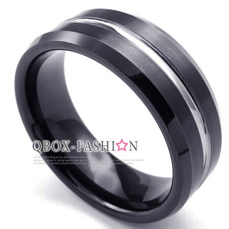 ~ QBOX ~FASHION 飾品~W10022677~精緻 簡約銀線高純度鎢鋼戒指 戒
