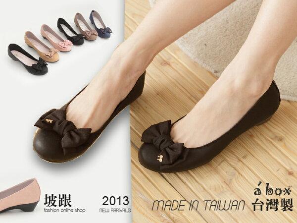 格子舖*【ADW1782】韓版高質感素面蝴蝶結金屬飾品坡跟包鞋 走路鞋 6色現貨 台灣製造