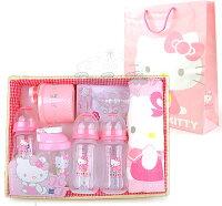 彌月禮盒推薦Kitty嬰兒用品竹籃彌月禮盒組毛巾奶瓶吸嘴奶粉罐070151海渡