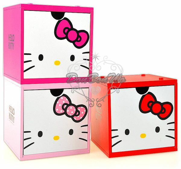 居家搶好康★HELLO KITTY木製抽屜盒收納盒貓臉組合式積木盒小958118/958101/958095海渡
