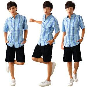 【魔法施】AYBORTEH全新時尚雅痞夜空黑藍平面休閒短褲