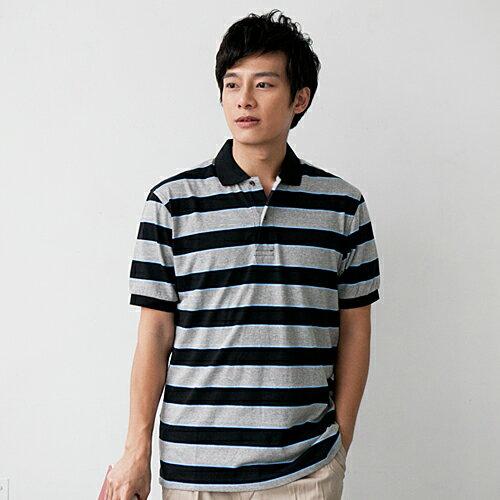 【魔法施】AYBORTEH超手感雙橫紋藍灰橫條舒適透氣POLO衫