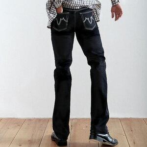 【魔法施】AYBORTEH氣概性格深黑白車線抓皺中高腰牛仔褲