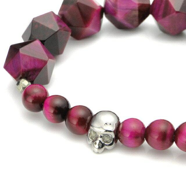 【海外訂購】【KONRON】寶石骷髏粉紅色虎眼石手環(KRBCB1316-Ptemix  0640820000) 3
