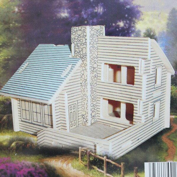 DIY木質拼圖 3D立體拼圖 四聯模型屋(G-PH022小別墅(二)中2片入)/一組入{定49}~四聯組合式拼圖