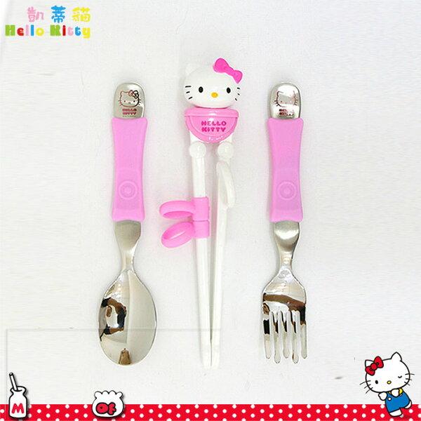 大田倉 韓國進口正版Hello Kitty 凱蒂貓學習筷 不鏽鋼湯叉 筷子 湯匙 叉 可愛造型 420221