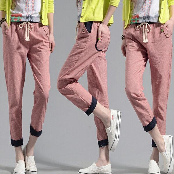 褲子 - 撞色設計鬆緊腰褲管反折格子休閒褲【23305】藍色巴黎《M、XL》現貨+預購 2