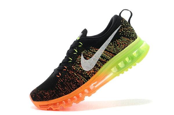 Nike air max 全掌彩虹氣墊編織 男生運動鞋 休閒鞋 慢跑鞋 黑熒光綠