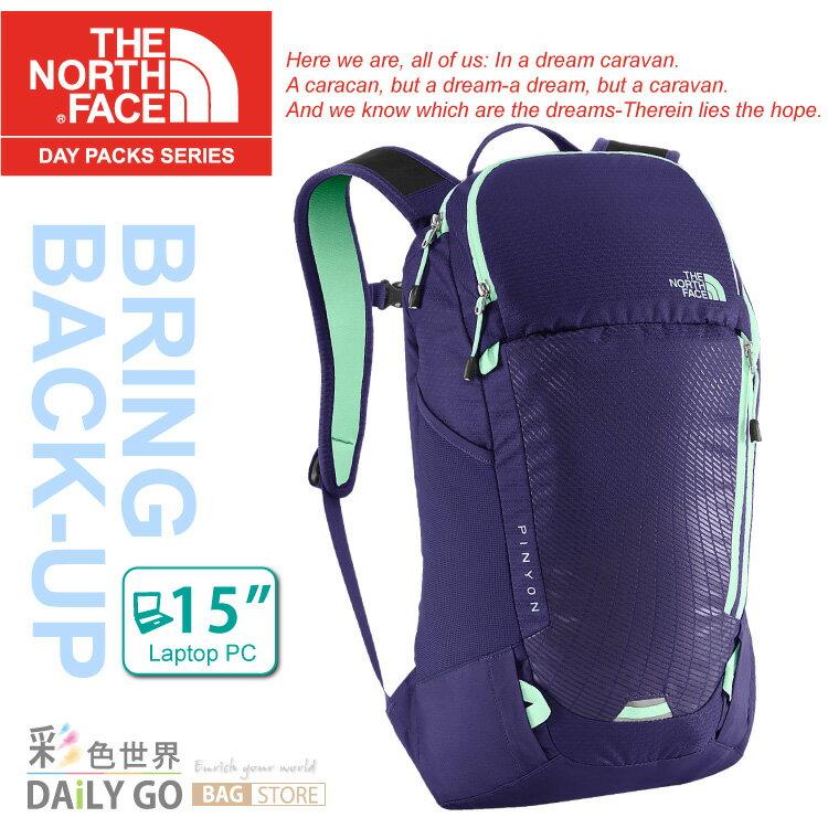 The North Face 後背包 15吋電腦包 15L-石榴紫/浪花綠 CWW8-BTN