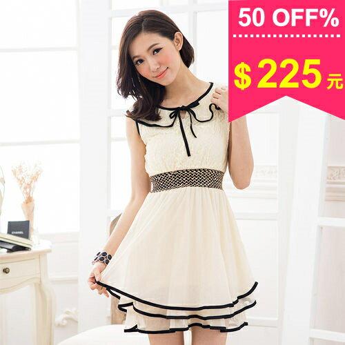 洋裝-雪紡紗蕾絲 滾邊領氣質小洋裝 包飾衣院 S1010 現貨+預購