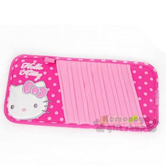 〔小禮堂〕Hello Kitty 車用遮陽板CD收納套《粉.大臉.點點》可收8片CD