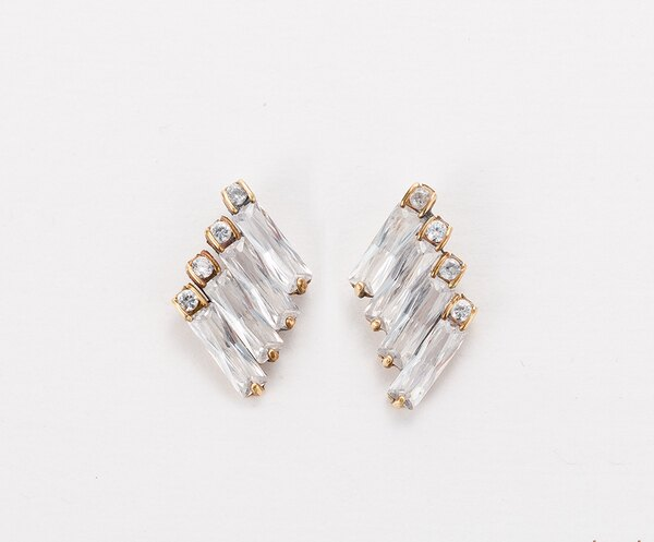 Chris Lu  Art Deco黃銅鋯石耳環