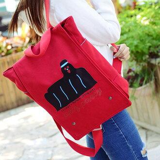 後背包-新潮韓版海獅翻蓋帆布後背包 包飾衣院 P1520 現貨