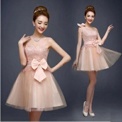 天使嫁衣【BADL1020】淺粉色可愛俏麗伴娘短禮服2款˙預購訂製款