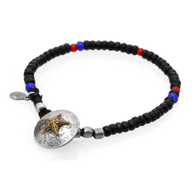 【海外訂購】【amp japan】黑瑪瑙串珠星芒硬幣手環(AMP-15AHK-417  082568D200) 0