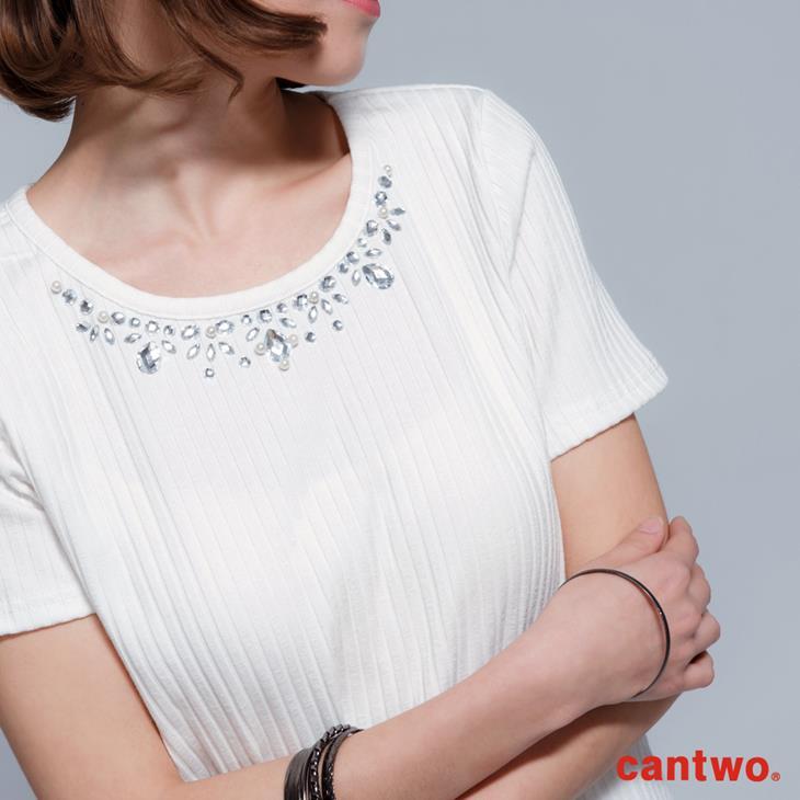 cantwo顯瘦彈性直條紋短袖上衣(共三色) 4