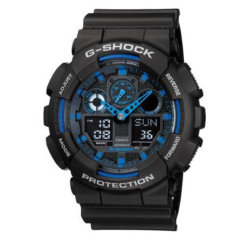 CASIO G-SHOCK GA-100-1A2質感藍黑雙顯流行腕錶/51mm