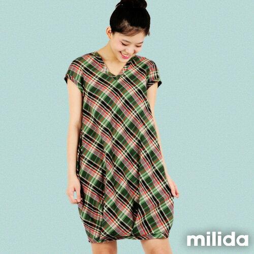【milida】☆夏季商品☆拼貼款☆氣質花苞版型洋裝