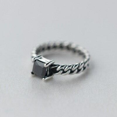 925純銀戒指鑲鑽開口戒~高貴大方麻花 生日情人節 女飾品2款73dt574~ ~~米蘭