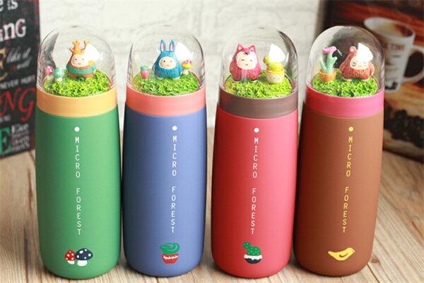 艾可絲不銹鋼真空保溫杯微觀森林情侶保暖杯學生卡通磨砂水杯子韓國 森林系微景觀
