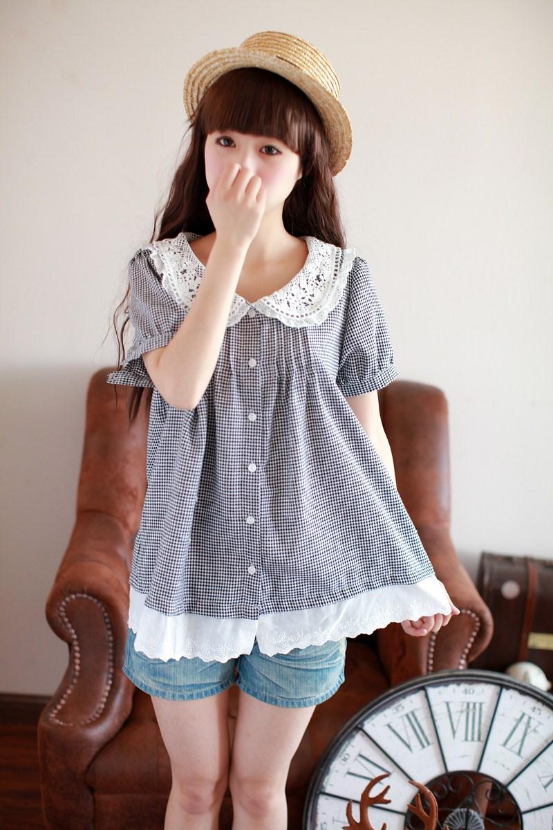 YJY日系蕾絲襯衫^~10127^~~2色