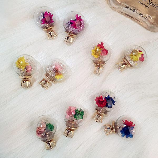 PS  Mall  日韓時尚復古雙面氣泡水晶水鑽花朵氣質耳釘 耳環 耳飾【G1904】